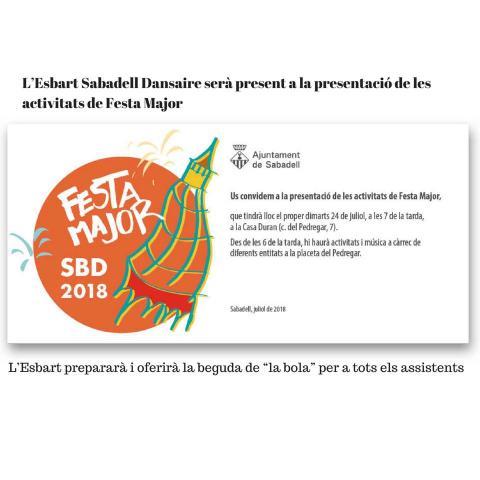 Presentació activitats Festa Major Sabadell 2018
