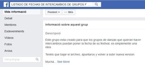 Per trobar grups per fer intercanvi al Facebook